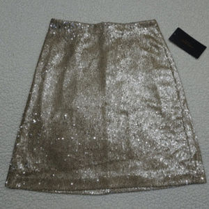 Zara Gold Tone Sequin Lined Skirt Size XS